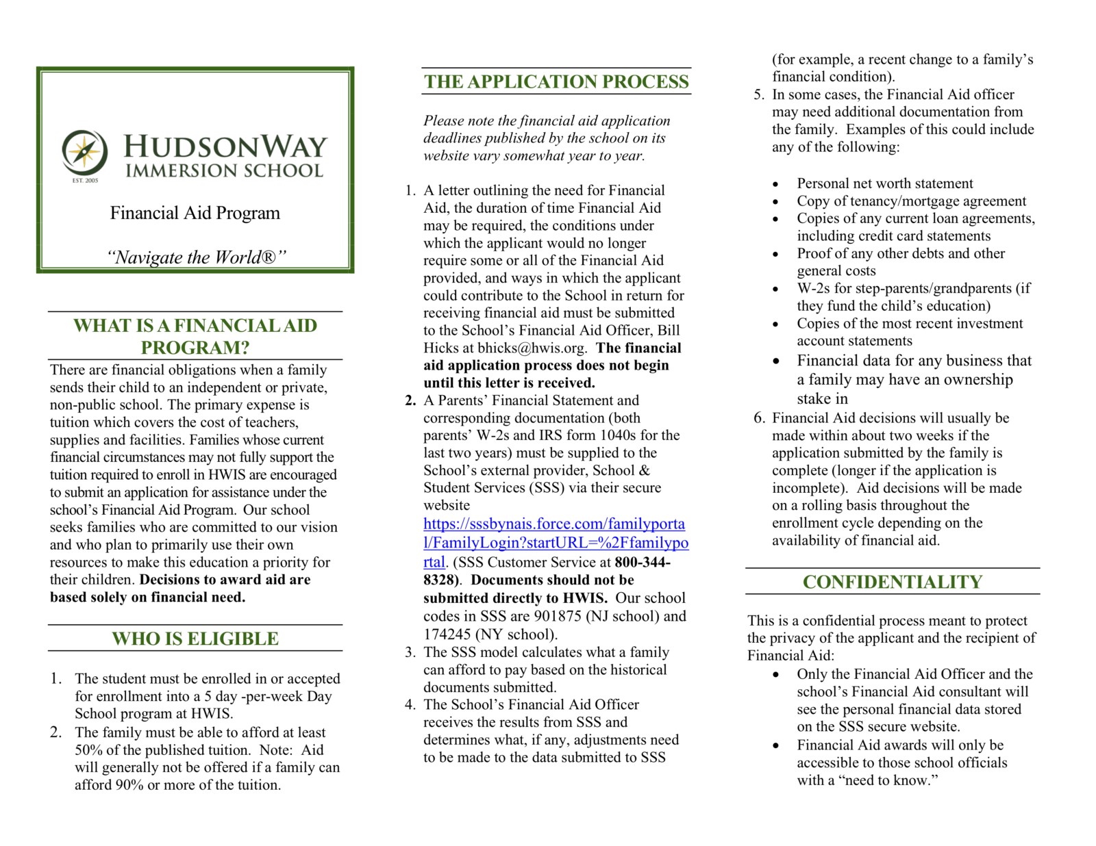 Financial Aid Program | HudsonWay Immersion School
