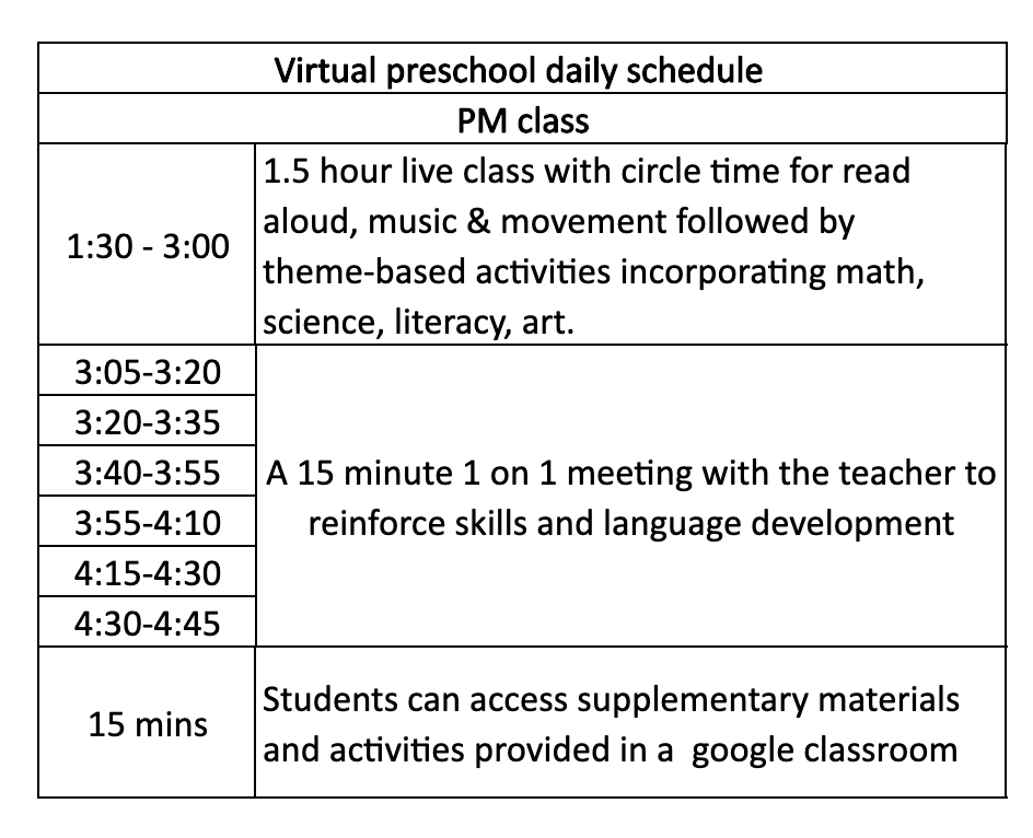 Virtual Preschool Daily Schedule - PM