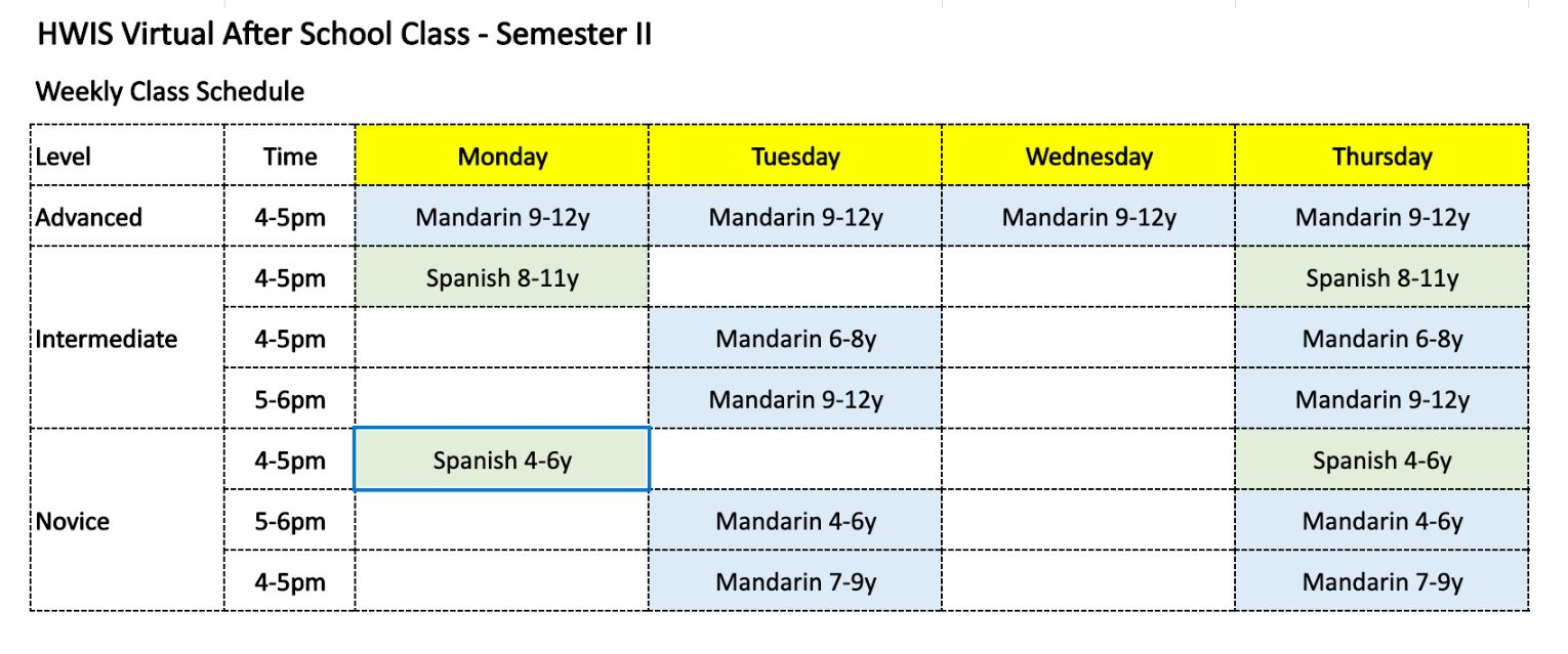 after school schedule